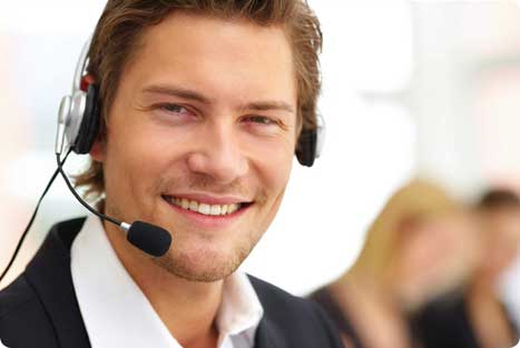 man in technical support call center